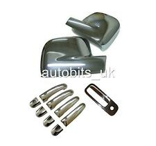 VW CADDY TRANSPORTER T5 03-09 CHROME MIRROR 4 DOOR +  REAR HANDLE COVERS PACK