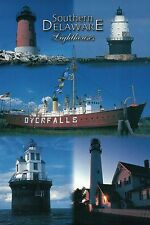 Southern Delaware Lighthouses, Fenwick Island Lighthouse, Lightship etc Postcard