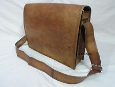 "16x12"" Vintage Leather Padded Messenger Bag Laptop Macbook Satchel Crossbody Bag"
