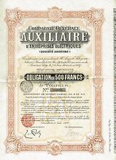 Belgium Electrical Business Auxillary Company stock certificate 1909