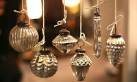 Set of 6 Mercury Glass Baubles, distressed vintage hanging decorations