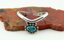 Vtg Navajo Sterling Silver Spiderweb Turquoise Cuff Bracelet - Small