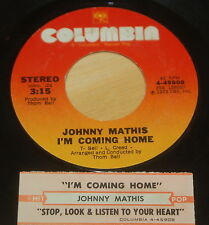 Johnny Mathis 45 I'm Coming Home / Stop, Look And Listen To Your Heart  w/ts