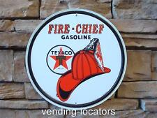 TEXACO FIRE-CHIEF GASOLINE Round Metal Petroleum Fire Station Mobil Garage Oil