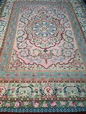ANTIQUE AMERICAN PINK- FLORAL AUBUSSON STYLE HAND HOOK RUG - 11:11 By 8:11