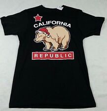 NWT California Republic Black T Shirt CALI Bear Bowery Supply Santa Hat Size S