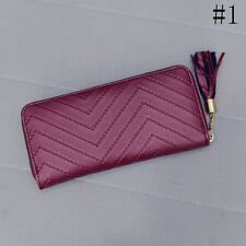 Women Faux Leather Card Holder Long Wallet Clutch Checkbook Tassel Handbag Purse