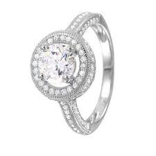 925 STERLING SILVER LADIES BRIDAL RING W/ ROUND DIAMOND/ NEW DESIGN!! SZ 5-9