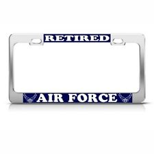 US STATES AIR FORCE RETIRED METAL MILITARY License Plate Frame Tag Holder