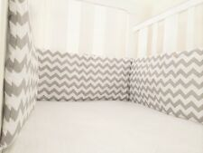 Gooseberry Baby Cot Crib Bumper Cotton Padded Grey & White Chevron 210 x 30 cm