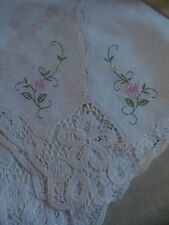 GORGEOUS BANQUET TABLECLOTH AND 12 NAPKINS..EMBROIDERED WITH LACE..UNUSED