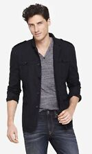 NEW EXPRESS MEN'S SLIM PHOTOGRAPHER BLACK COTTON MILITARY BLAZER JACKET SZ LARGE