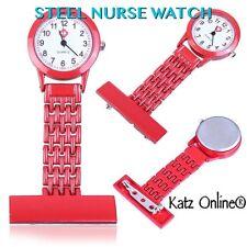 New Steel Nurse Watch Medical Brooch Steel Fob Watch Doctor Watch STEEL RED B3
