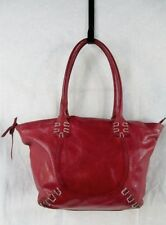 CLAUDIA FIRENZE Leather Shoulder Bag Stitch Tote Satchel Purse Handbag RED M