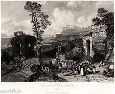 Bacoli: Baia: Tempio di Venere e Castello Aragonese.Golfo di Napoli.Acciaio.1838