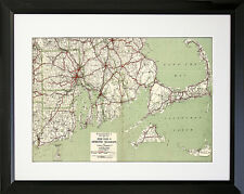 FRAMED 1917 Cape Cod & Rhode Island Map 16x20 Art Print Poster Wall Decor