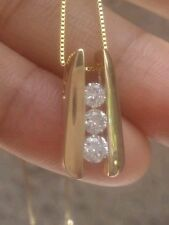 14k JC Penny statement piece! Past Present Future DIAMOND Bar Drop Necklace! So