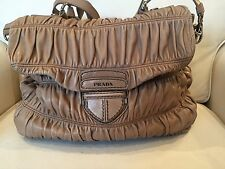 Prada Pushlock Tan Leather Convertible Flap Satchel Nappa Gaufre Large