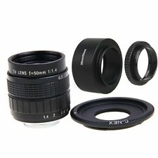 FUJIAN 50mm f/1.4 C Mount CCTV f1.4 Lens + Lens Hood+Macro Ring for SONY E Mount