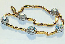 A FINE 9CT 9K YELLOW  GOLD BLUE TOPAZ & DIAMOND CLUSTER LINK TENNIS BRACELET