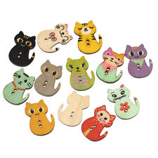 20 Wood Novelty Cat Design Buttons 30 x 23mm Sewing Button art crafts Free P&P