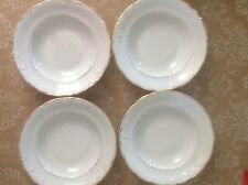 Four New Royal Kent Collection Poland White Gold Trim Rimmed Soup Cereal Bowls