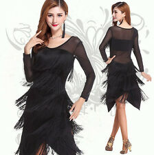 Women Black Ballroom Dance Dress Latin salsa, Sheer Long Sleeves Dancing Dresses