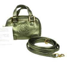 Auth LOEWE Logos 2Way Shoulder Bag Pouch Leather Green Spain Vintage 09K371