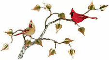 Cardinal Pair On Birch Metal/Copper Wall Art Sculpture- Bovano of Cheshire W550