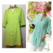 Soft Surroundings Cotton Pintucked Tunic Top Chartreuse Sz XS Button Down Lime