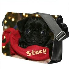 Personalised Girl's School / College / Large Messenger Bag Add a Name Pug Dog