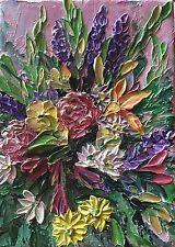 ORIGINAL Signed Pallet Knife Floral Garden Impressionism Bold Texture
