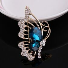 Gold Plated Clear with Blue Rhinestone Butterfly Brooch Pin
