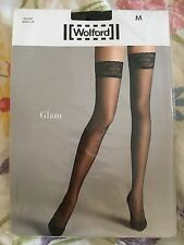 New Wolford Glam Stay Up Black Tights Sz M