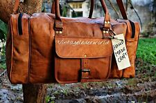 "24"" Large Big Men's Leather Overnight Travel Bag Handmade Duffle Luggage Weekend"