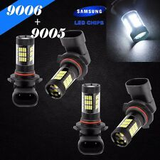 Combo 9006-HB4 9005-HB3 Samsung Chip LED 57 SMD White Headlight Bulbs Hi/Lo Beam