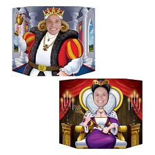 KING AND QUEEN PHOTO STAND IN CUTOUT MEDIEVAL THEMED PROP PLACE HEAD IN HOLE