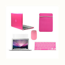 "5 in 1 HOT PINK Crystal Case Macbook Pro 13"" A1425 Retina+Keycover+LCD+BAG+MOUSE"