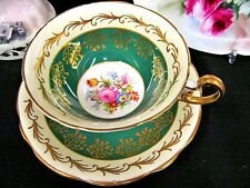 FOLEY TEA CUP AND SAUCER FLORAL PATTERN TEACUP GREEN BANDS GOLD GILT