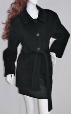Deep Black CALVIN KLEIN Baby Soft 65% Angora Coat Jacket w Belt Sz 14P  L