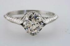 PLATINUM ANTIQUE VINTAGE OLD EUROPEAN CUT DIAMOND ENGAGEMENT RING