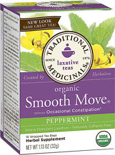 Organic Smooth Move Senna Peppermint, Traditional Medicinals, 16 tea bag 3 boxes