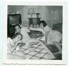 Teen Girls Pajama Slumber Party Quilt Retro TV Television Set Vtg 1950s Photo
