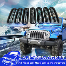 For 07-16 Jeep Wrangler JK Unlimited Front Grille Cover Insert Mesh Grill 7PCS
