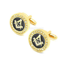 ICED OUT MENS 14K GOLD PLATED FREEMASON MASONIC SIGN CUFFLINKS GIFT BOX #CL015GL