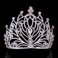 11.5cm High Large Full Crystal Wedding Bridal Party Pageant Prom Tiara Comb