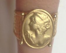 VINTAGE 18K SOLID YELLOW GOLD CAMEO CUFF RING EUROPEAN WOMEN