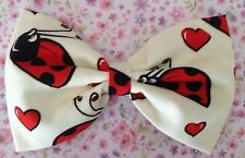 "NEW 5"" IVORY CUTE RED LADYBIRD NOVELTY PRINT COTTON FABRIC RETRO BOW HAIR CLIP"