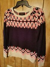 Vintage Womens Knit Sweater Neon Pink|Navy Blue|Long Sleeve Crew Neck Top Shirt