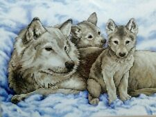 Wolf & Pups Stamped Cross Stitch Kit Sunset / Dimensions